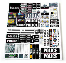 STICKERS for CUSTOM POLICE LEGO 7743 7237 7744 BUILDS, Toys, Etc 'BLACK'