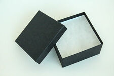 "Lot of 25 pcs 3 3/4""x3 3/4""x2"" Matte Black Cotton Filled Jewelry Boxes Display"