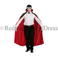 ADULT VAMPIRE DRACULA CAPE REVERSIBLE BLACK RED FANCY DRESS HALLOWEEN COSTUME
