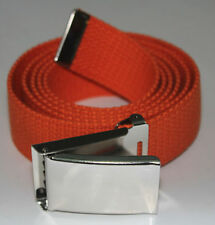 "NEW FLIP TOP ADJUSTABLE 56"" INCH ORANGE MILITARY WEB CANVAS CHROME BELT BUCKLE"