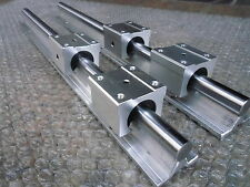 2X SBR12-600mm 12MM FULLY SUPPORTED LINEAR RAIL SHAFT ROD + 4 SBR12UU Block