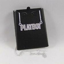 "SILVER Plated SWAROVSKI Crystals PLAYBOY THEME Pendant 19"" NECKLACE for MEN"