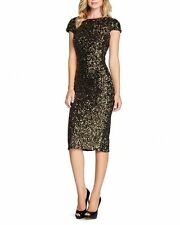DRESS THE POPULATION 'MARCELLA' OPEN BACK SEQUIN BODY-CON MIDI  DRESS sz S