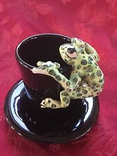 NEW FLAWLESS Exceptional BLUE WITCH Green Dots FROG Ceramic EXPRESSO CUP SAUCER