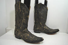 Old Gringo Black Leather Distressed  Design Western Boots, Men's Size 11 D