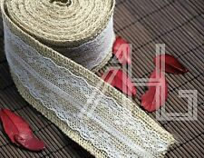 Natural Jute Burlap Hessian Ribbon +lace Trim Edge Vintage Wedding Rustic 6meter