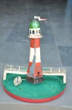 Rare Early Vintage Windup Handpainted Boat & Lighthouse Tin Toy, Germany