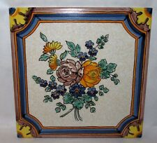 """Vintage Semigres 8"""" Hand Painted Floral Ceramic Tile Italy Flowers Teracotta"""