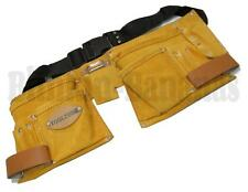 LARGE 11 POCKET BUILDERS LEATHER SUEDE TOOL BELT HOLDER POUCH DOUBLE HAMMER LOOP