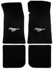 NEW! 1999-2004 Ford Mustang Black Floor mats with Logo Set of 4 Carpet Pony Logo