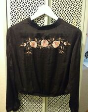 BNWT ZARA Black Embroidered Floral Bomber Pullover Jacket Top Sz: Large Free P&P