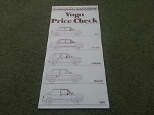 July 1986 YUGO Zastava UK PRICE LIST BROCHURE 311 511 513 45 45A 55 55A GLS VAN