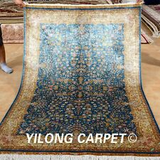 Yilong 4.5'x6.5' Persian Rugs Hand Knotted Pictorial Silk Carpets Handmade 0161