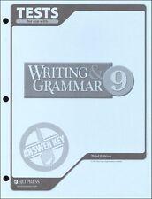 BJU Press Writing & Grammar 9 Tests Answer Key - 227116