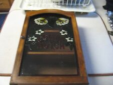 Vintage Wood And Glass Wall Decor Coffee Hutch White Flower Design GUC