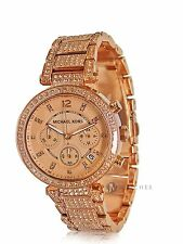BRAND NEW WOMENS MICHAEL KORS (MK5663) PARKER ROSE GOLD CRYSTAL GLITZ WATCH