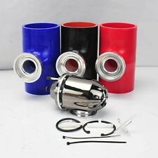"GUN METAL TURBO SSQV BOV BLOW OFF VALVE + 3"" RED SILICONE COUPLER ADAPTER"