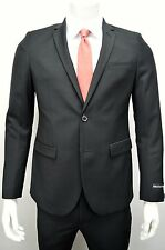 Men's Black 2 Button Slim Fit w/ Tapered Pants (Skinny) Suit SIZE 36S NEW