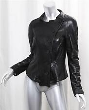 RACHEL ROY Womens Classic Black Leather Long-Sleeve Button-Down Jacket Blazer 2