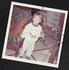 Vintage Photograph Adorable Little Boy in Pajamas Standing in Retro Room 1970