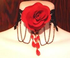 RED ROSE BURLESQUE COLLAR masquerade costume black lace choker necklace goth M6