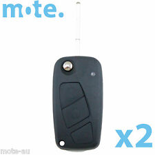 2 x Fiat 3 Button Flip Key Remote Case/Shell/Blank Punto Bravo Stilo Black