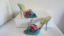 MIU MIU Aqua Blue  Leather Jeweled 'Bijoux' Slides Sz 38 Us 8