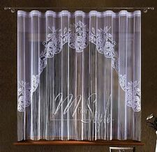 "String Net Curtain Panel White Pleat Tape Top 118"" width x 71"" drop (300 x180cm)"