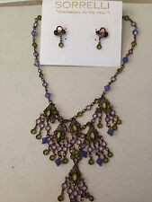 NEW RETIRED SORRELLI ARMY GIRL CHOKER NECKLACE AND EARRINGS SET, NWOT