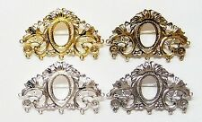 4 Different Colors of 18x13 mm Victorian Deco Long OLD Style Brooch Pin Settings
