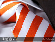 NEW ITALIAN DESIGNER ORANGE & WHITE STRIPED SILK TIE