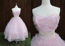 50s Cupcake Light Pink Tulle Vintage Prom Dress Pin Up Ruffle Rockabilly Lace XS