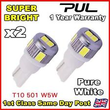 2 x 6 SMD LED Pure White LED 501 T10 W5W Number Plate Light Bulb - SUPER BRIGHT