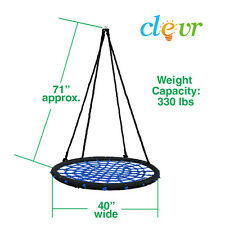 "Clevr 40"" Tire Web Swing 71"" Nylon Rope Swivel Tree Net Assembled & Ready to Go"