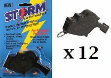 Storm Whistle loudest whistle in world Black Safety pack of 12