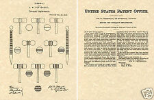 US PATENT for CROQUET Vintage Art Print READY TO FRAME!! game ball mallet wicket