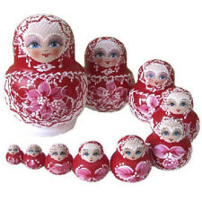10 Dolls Set Red Wooden Russian Nesting Babushka Matryoshka Hand Painted Gift