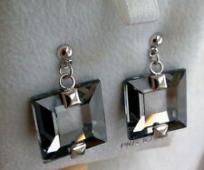 PRECIOSA BRAND STERLING SILVER SQUARE CRYSTAL EARRINGS IN CHROME- CZECH MADE