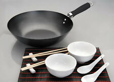 WOK KOMPLETT SET ASIA ASIAWOK CHINAWOK CHINA STÄBCHEN SCHALE LÖFFEL INDUCTION