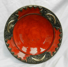 Antique Berber Pottery Dish / Charger with Applied Silver Metal Decoration c1900