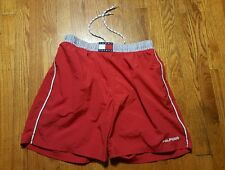 Tommy Hilfiger men's XL lined red drawstring swim trunks nylon VTG 90s Spell out