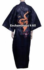 Dark Navy Embroidered Dragon Design Silk Kimono Robe Sleepwear Long w/ Waist Tie