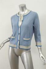 CHANEL 08C Womens Blue+Gray Striped Cashmere Cardigan Sweater Pockets 40/8