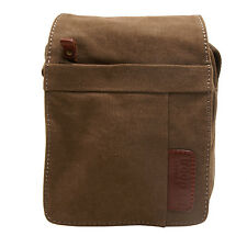 Troop London - Small Brown Classic Canvas Messenger/Body Bag with Leather Trim