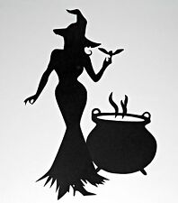 Large Unique Halloween Witch with Cauldron Die Cut Silhouette Decor (29cmx20cm)