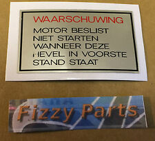 YAMAHA FS1-E FIZZY FS1 FS1E SS 1-LANGUAGE (DUTCH) PEDAL WARNING DECAL 1973