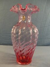 """Large Fenton Pink Glass Melon Vase with Twist or Spiral Design - 11"""" Tall 018"""