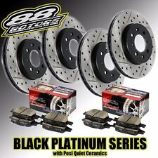 High Carbon Drilled Slotted Black Platinum Rotors Posi Quiet Brake Pads Evo X 10