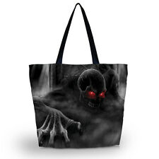 Skull Soft Foldable Reusable Tote Shopping Bag Shoulder Bag Lady Beach Handbag