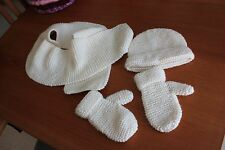 Girls or boys Toddler cream handknitted hat mitten and scarf set length 42 in